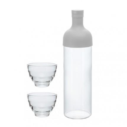 HARIO Filter-in Bottle & Tea Glass Set - Hellgrau