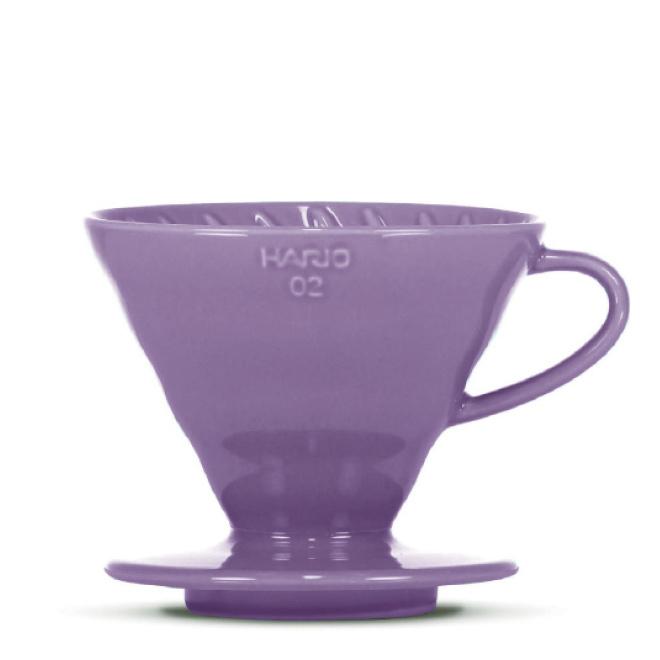 HARIO V60 Filterhalter, Porzellan, purple, 3-4 Portionen